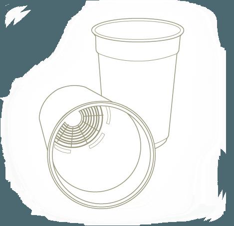 Croquis del envase con alzado y vista del fondo